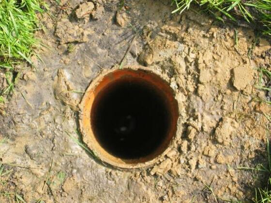 Bohnloch zur Stabilisierung in Mutterbodenstärke 100mm Rohr eingesetzt.