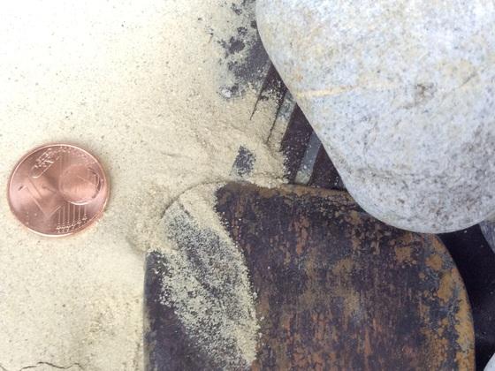 Sand aus Bohrloch bei ca. 3,5-4m Tiefe gefördert